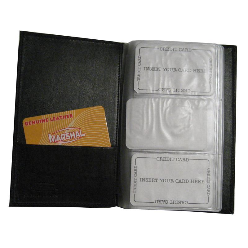 Genuine Leather Business Card Holder Organizer 120 Black