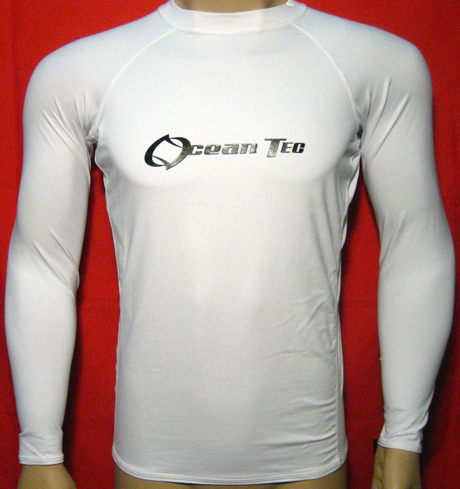 New Mens Rash Guard Long Sleeve Lycra Rashguard White Swim