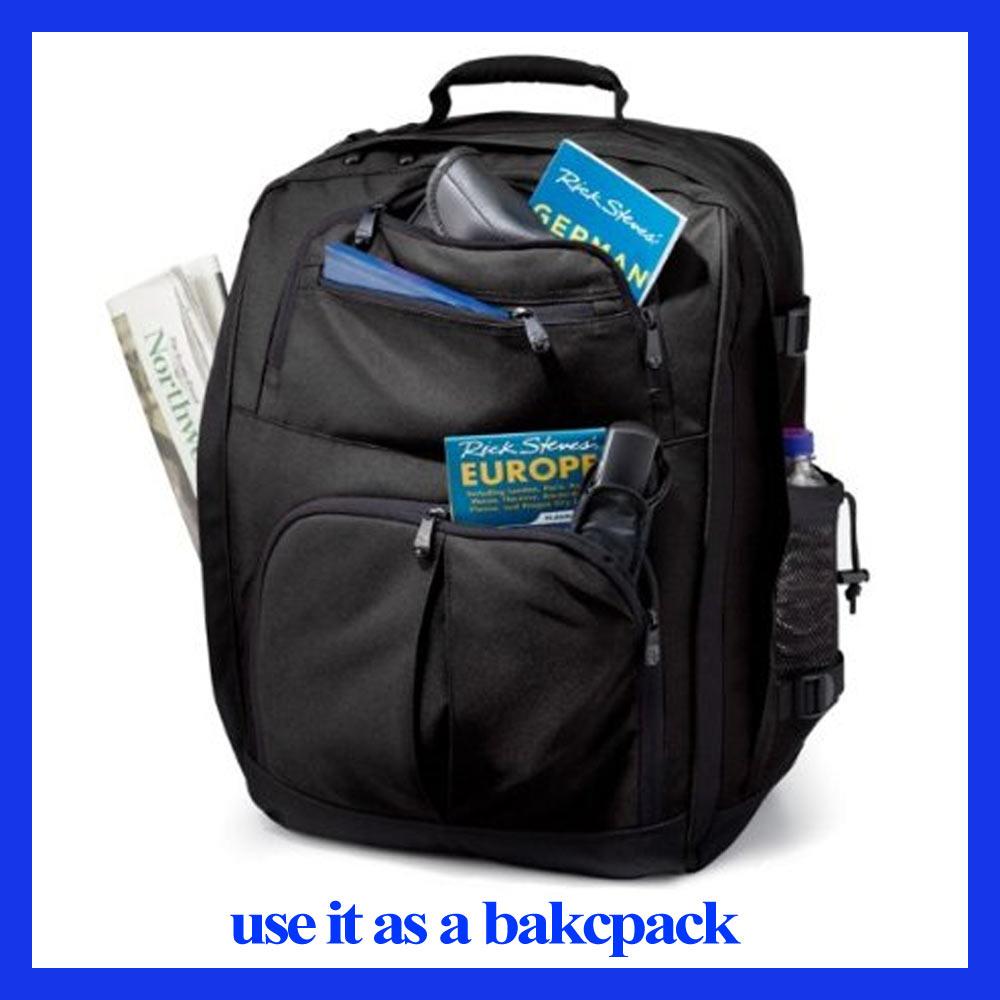 ... Convertible Carry On Black Backpack Bag Light Travel Laptop Europe