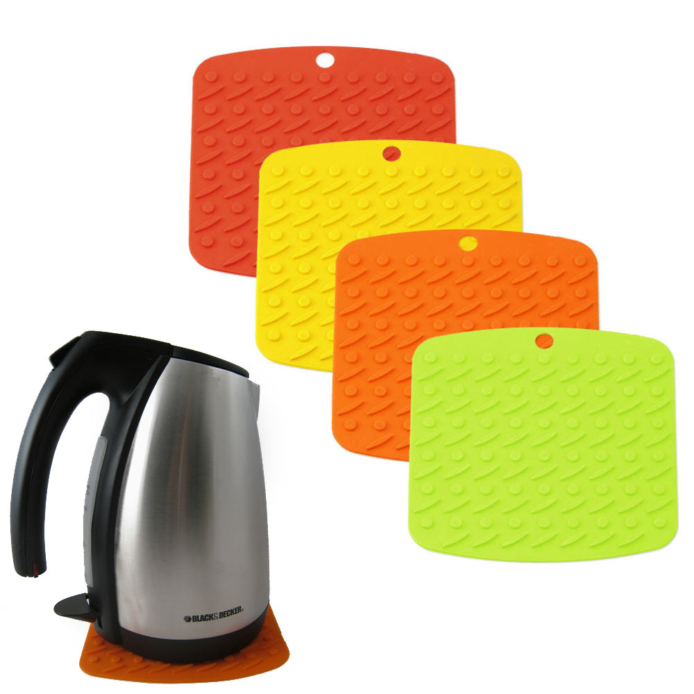Silicone Pot Holders: 2 Silicone Pot Holder Oven Mitt Potholder Trivet Heat