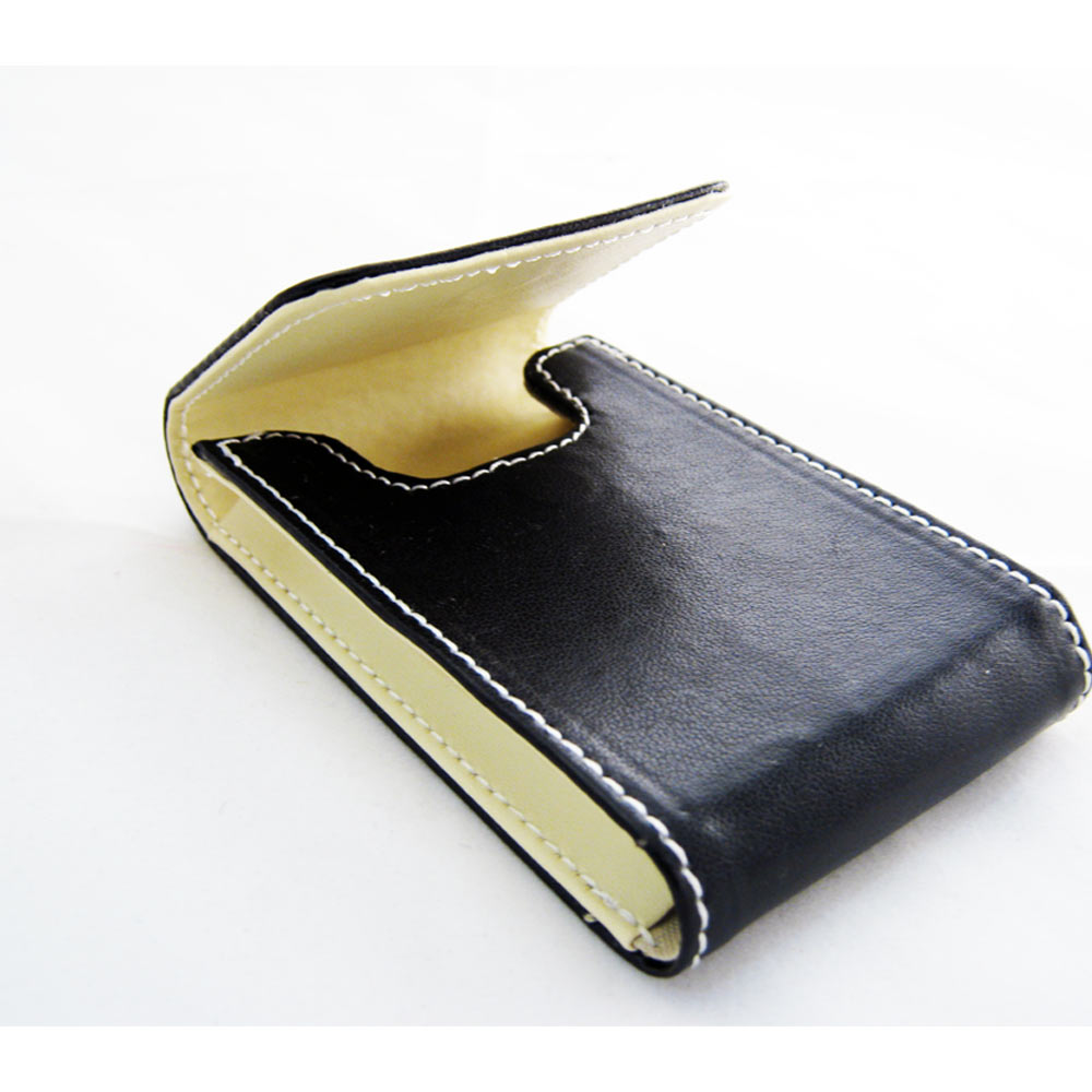 New black leather business card holder id credit case for Black leather business card holder