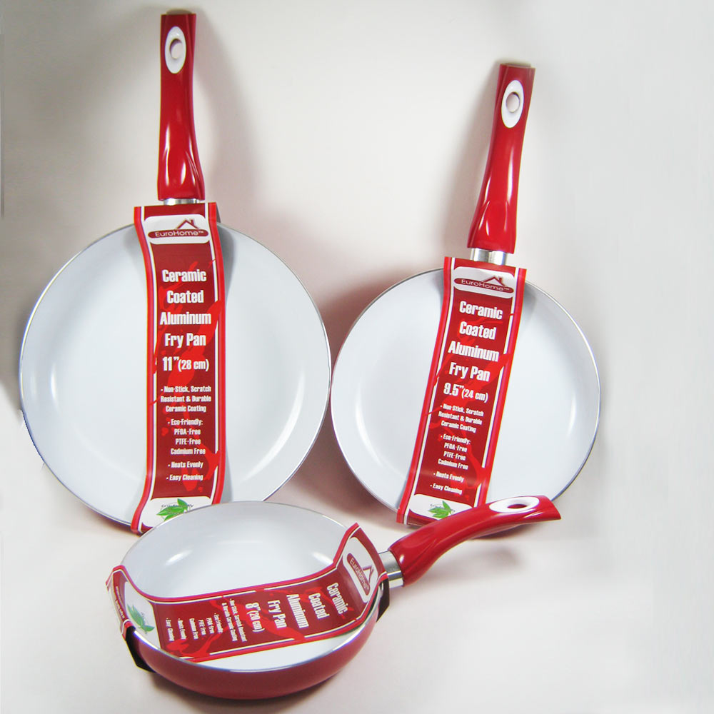 3 Non Stick Ceramic Coated Fry Pan Set Eco Red Healthy