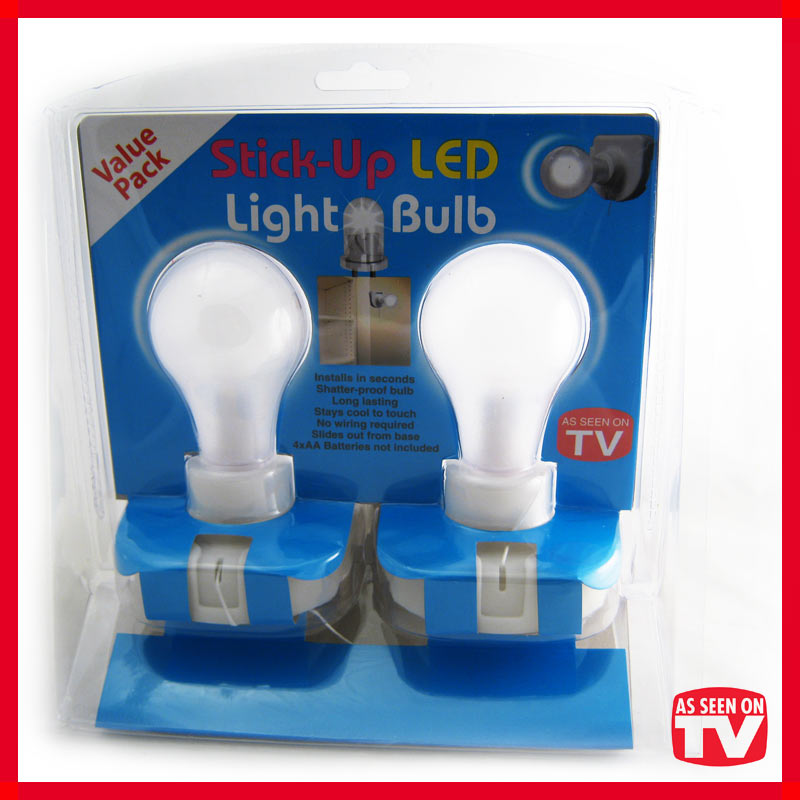 Wall Light Bulb As Seen On Tv : 2 LED Stick Up Pull Chain Battery Powered Light Bulb Portable Lamp AS Seen On TV