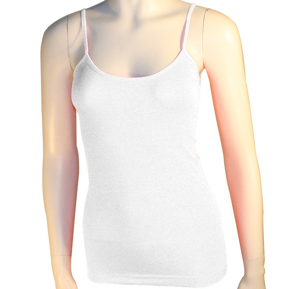Women's Basic Stretch Camisole Tank Top Spaghetti Strap Long Cami ...