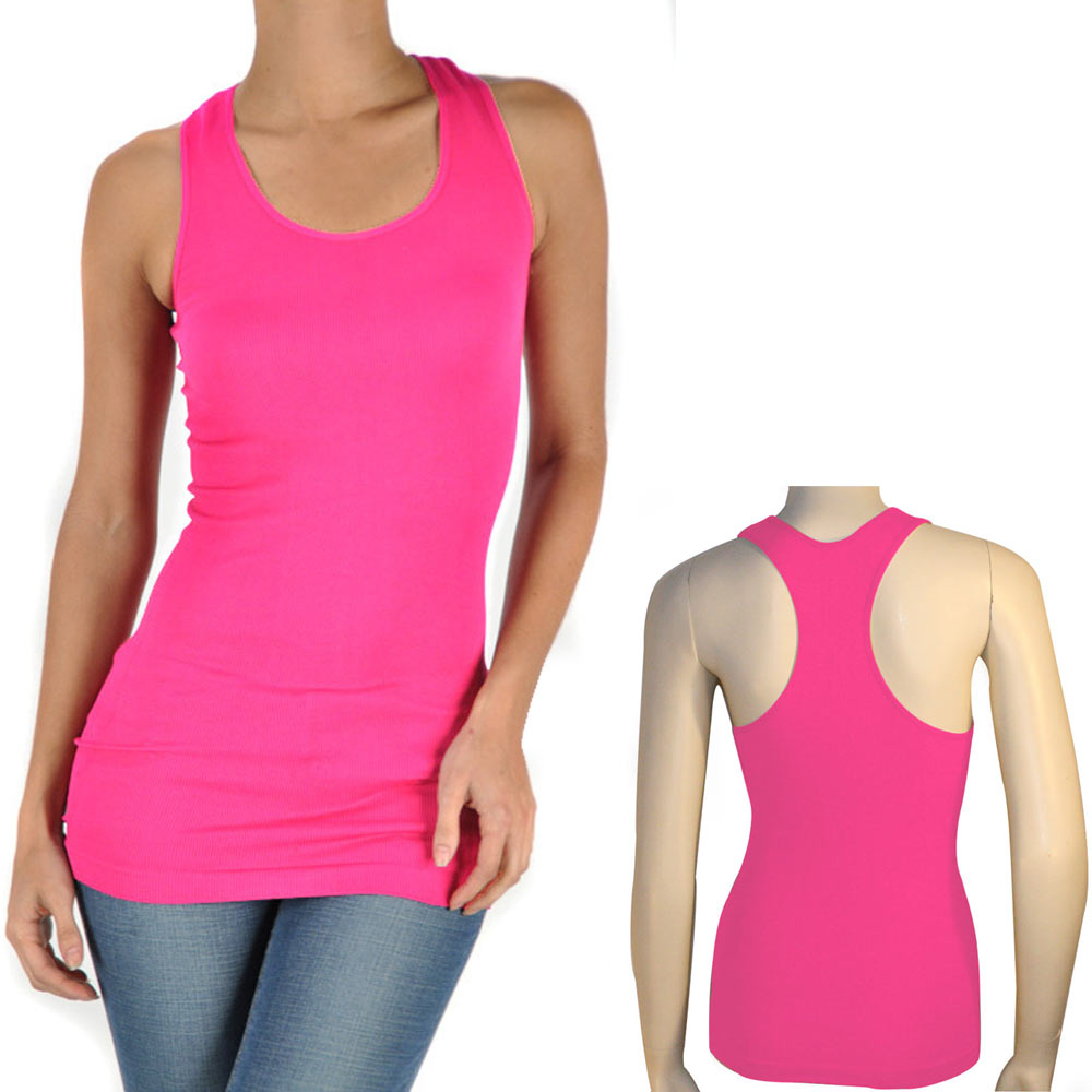 women 39 s seamless racerback tank top stretch sleeveless basic cami sports shirt ebay. Black Bedroom Furniture Sets. Home Design Ideas