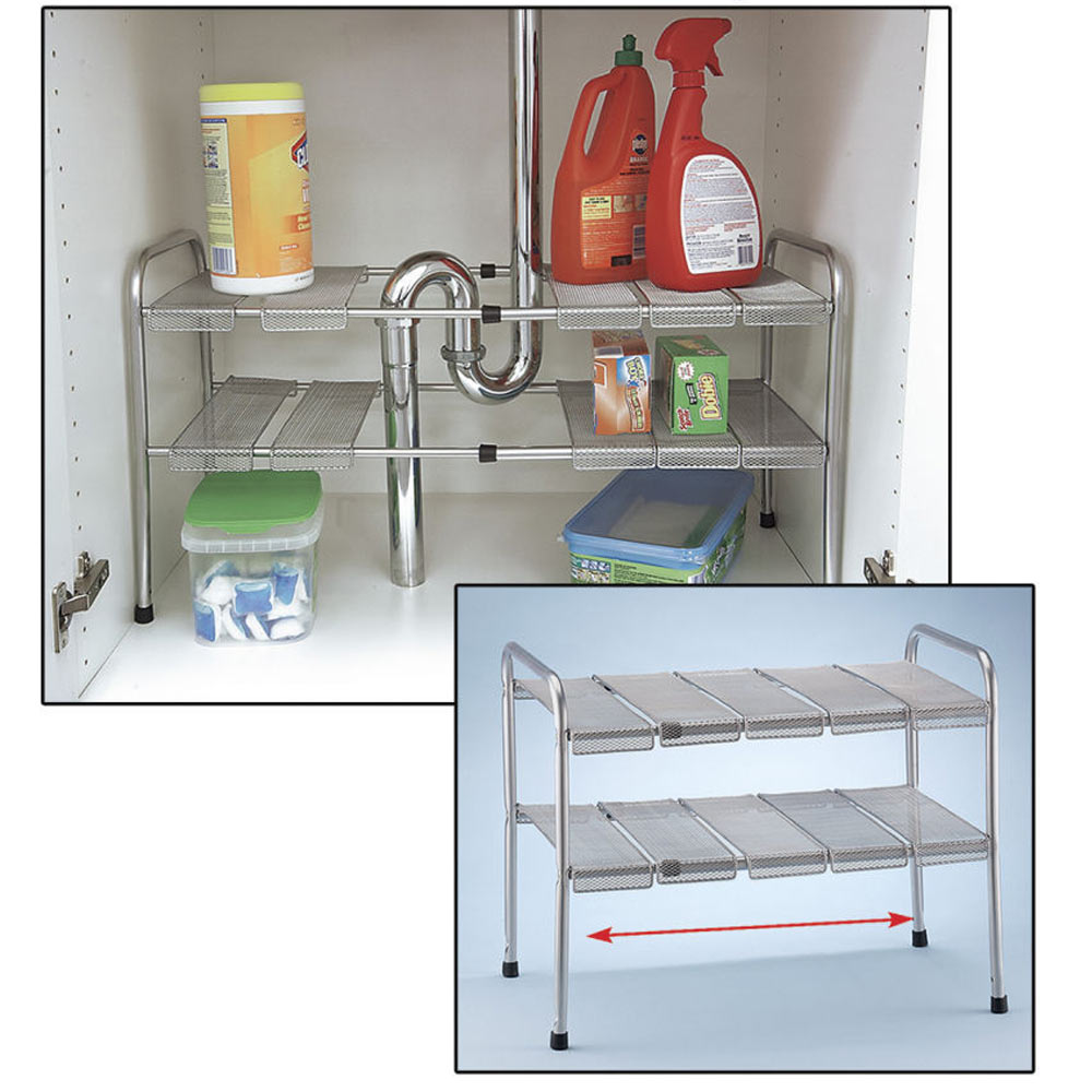2 Tier Expandable Adjustable Under Sink Shelf Storage Shelves Kitchen Organizer Ebay