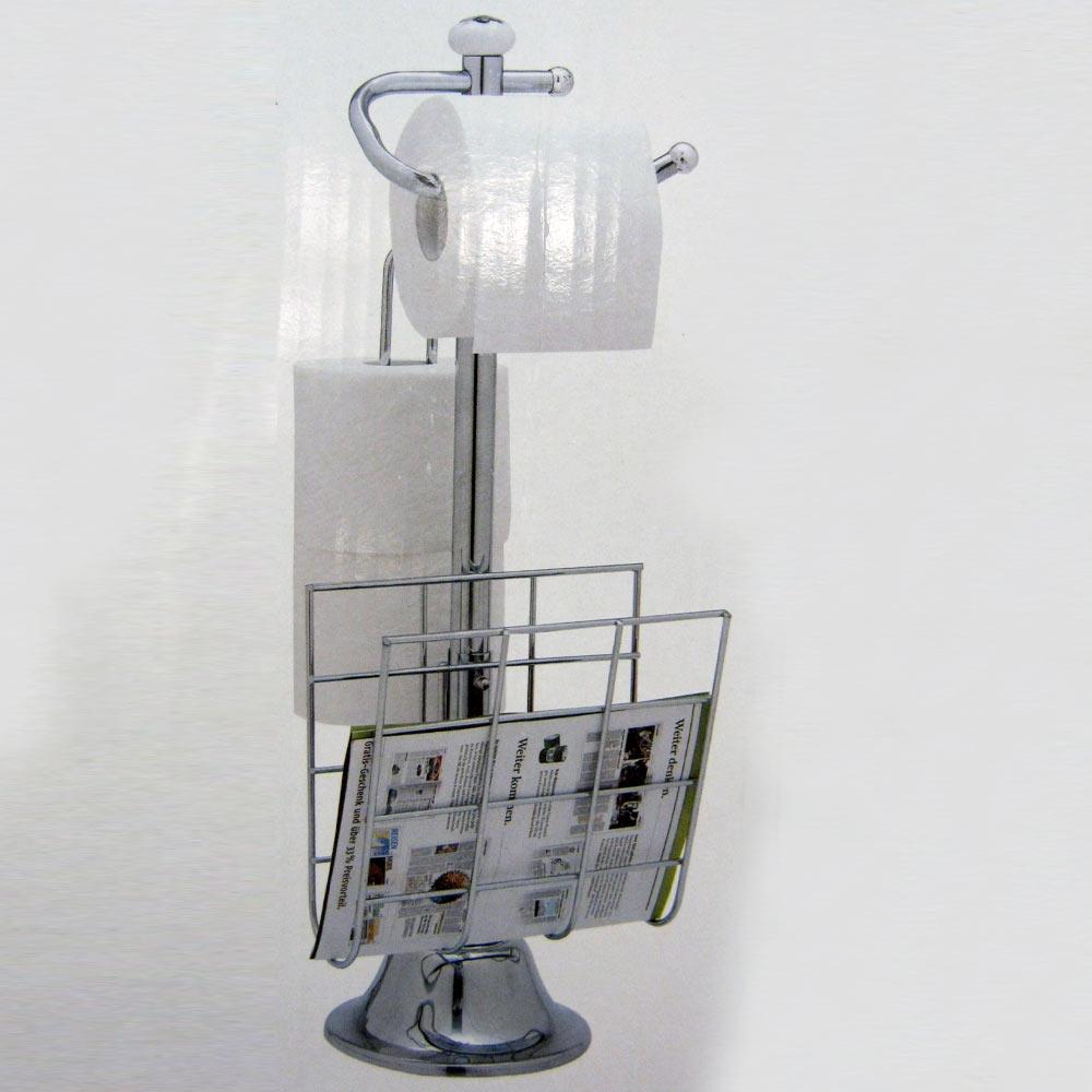 Standing Chrome Magazine Rack Toilet Paper Tissue Holder