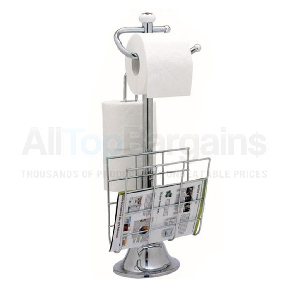 Standing chrome magazine rack toilet paper tissue holder stand bathroom organize ebay - Tissue holder bathroom ...