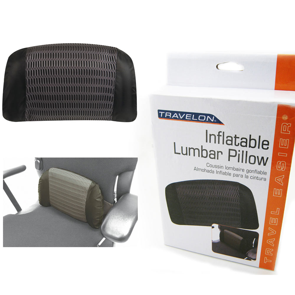 Travelon Inflatable Lumbar Pillow Support Cushion Rest Air Black New Travel Seat