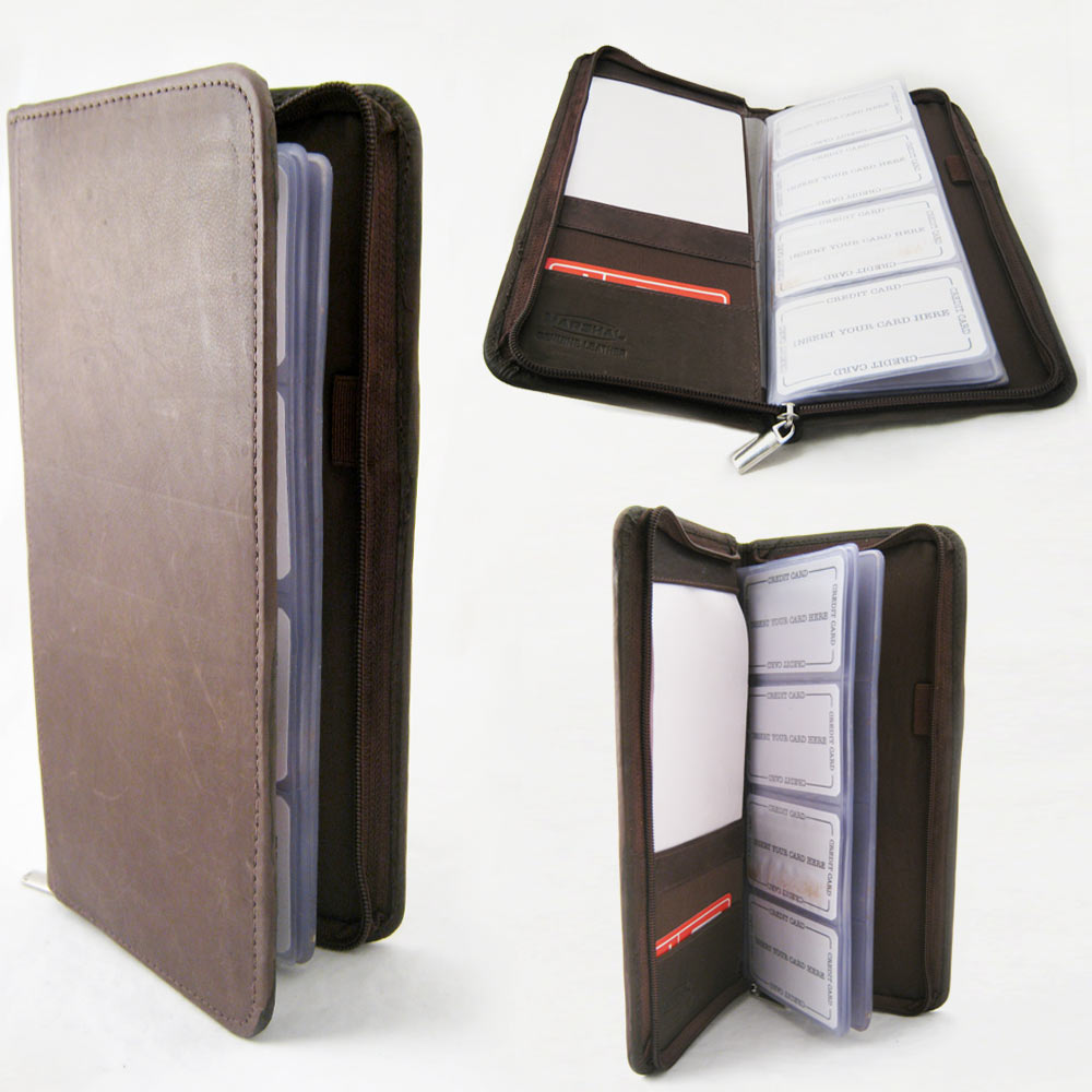 genuine leather business card holder 160 cards organizer book ids