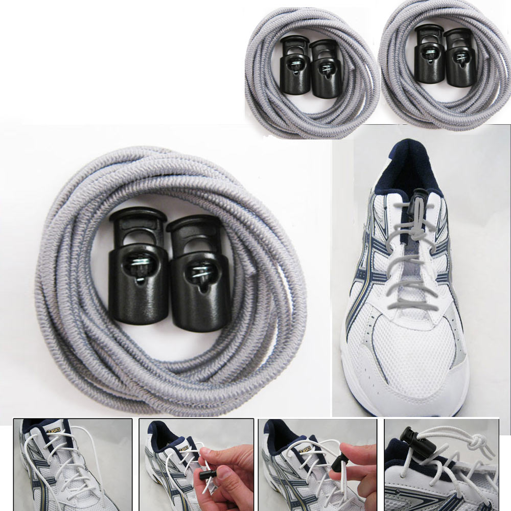 3 Elastic Shoe Laces No Tie Triathlon Marathon Running Run Shoelace Release Gray