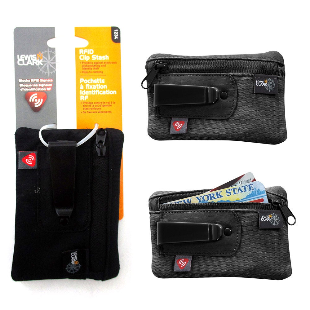 7645509a34e3 Details about RFID Clip On Stash Pouch Wallet Travel Safe Security Id  Holder Lewis N Clark BK