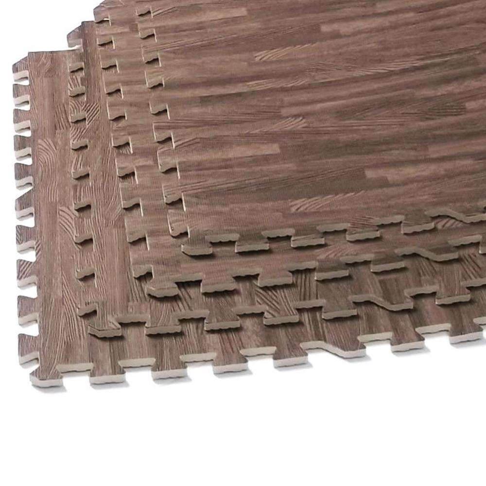 Details About Interlocking Dark Wood Eva Mats Soft Foam Exercise Floor