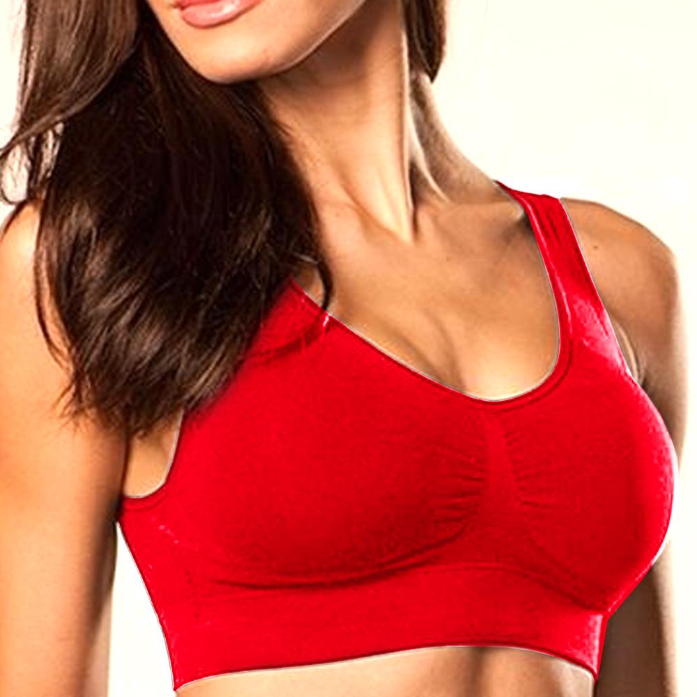 New Womens Seamless Sports Bra Padded Yoga Racerback ...