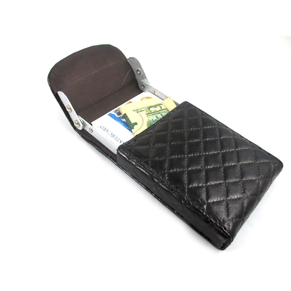 new brown leather business card holder id credit case