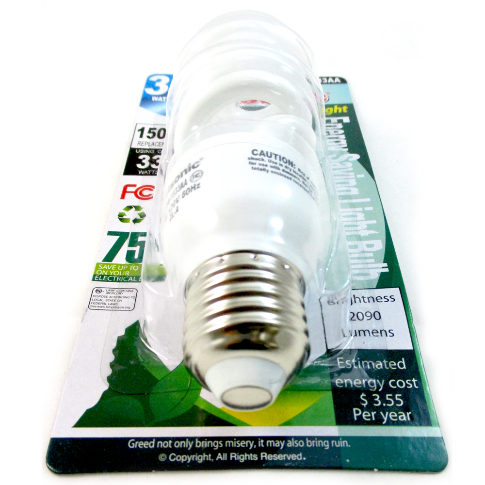 Daylight Light Bulb Cfl 33 W 75 Watt White Compact Fluorescent Spiral Base New Ebay
