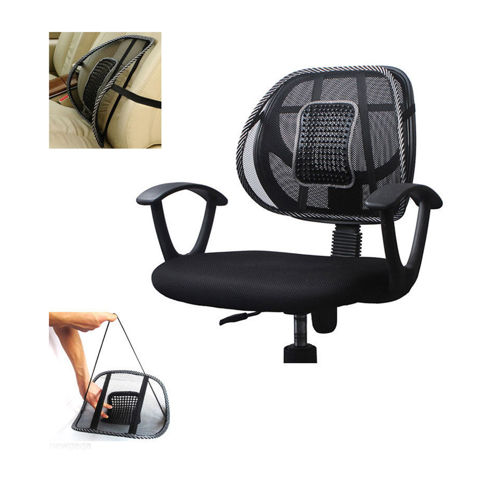 mesh lumbar back brace support office home car seat chair cushion cool black new ebay. Black Bedroom Furniture Sets. Home Design Ideas