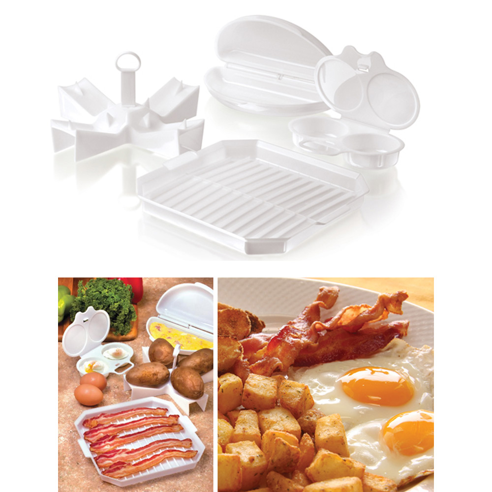 4 PC Microwave Starter Set Eggs Bacon Potatoes Baker Tray Mi