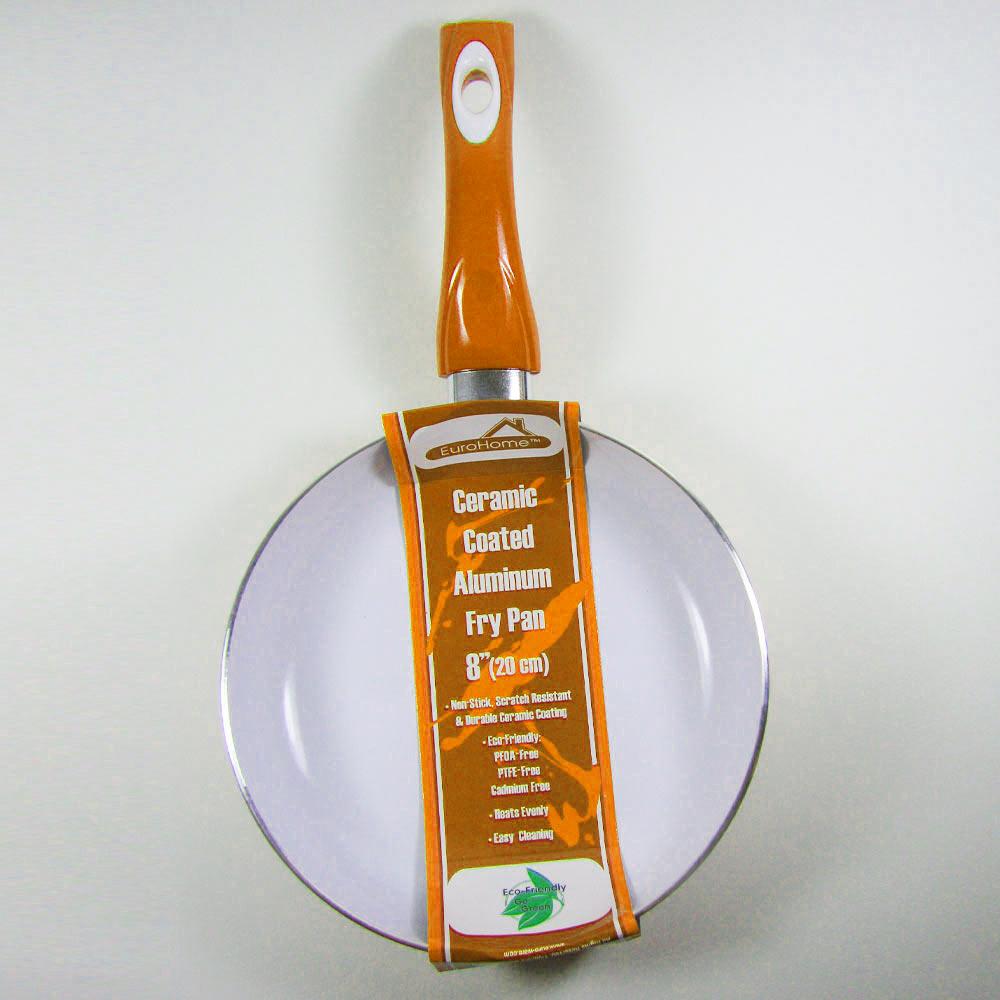 3 Non Stick Ceramic Coated Fry Pan Set Eco Orange Healthy