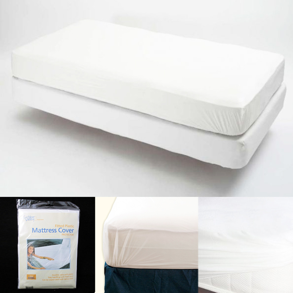 Plastic Mattress Cover For Bed Wetting ... Mattress Cover Vinyl Waterproof BUG Allergy Protector BED NEW | eBay