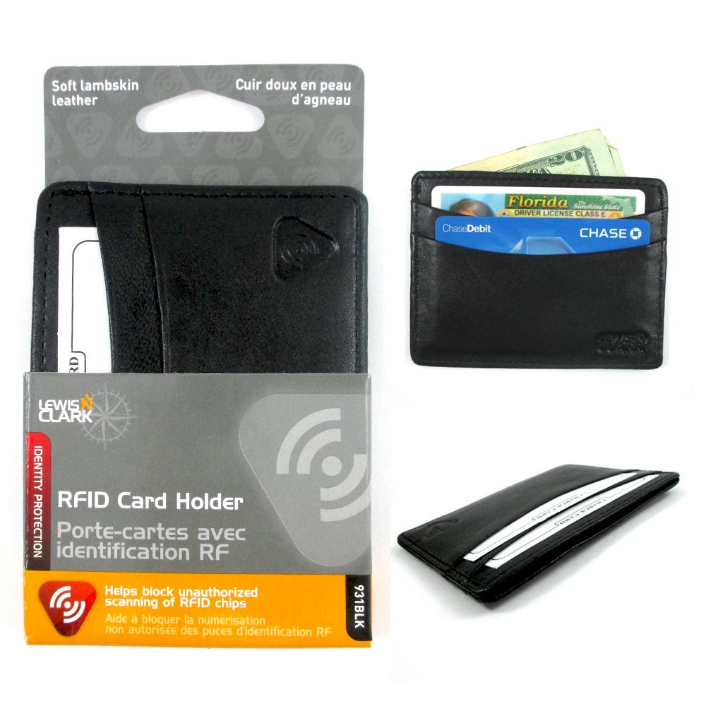 Lewis-N-Clark-Mens-ID-Card-Holder-Leather-RFID-Blocking-Slim-Wallet-Security-New