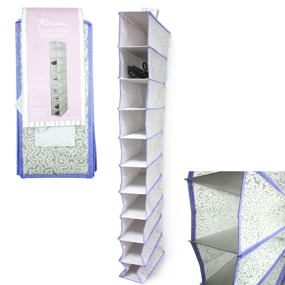 Fabric 10 Shelf Hanging Closet Shoe Organizer Holder Rack