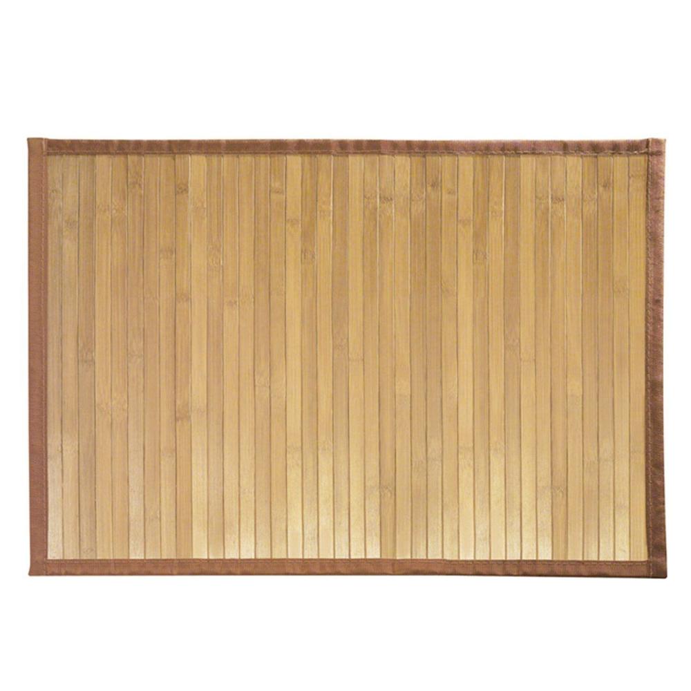 Bamboo Wood Floor Mat Water Resistant Non Slip Area Rug