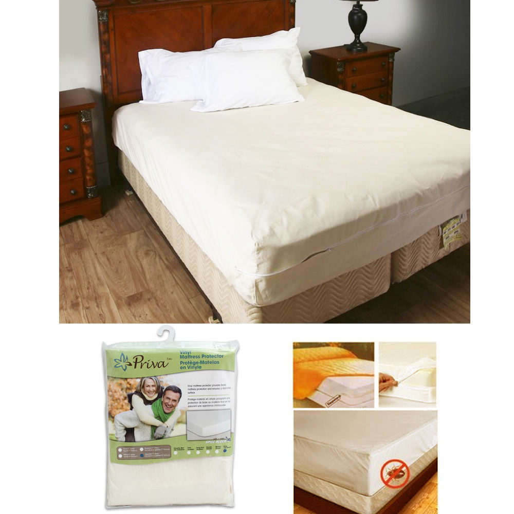 King Size Vinyl Zippered Mattress Cover Protector Dust Bug ...