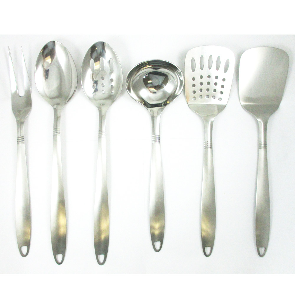 6 Stainless Steel Kitchen Cooking Utensil Set Serving ...