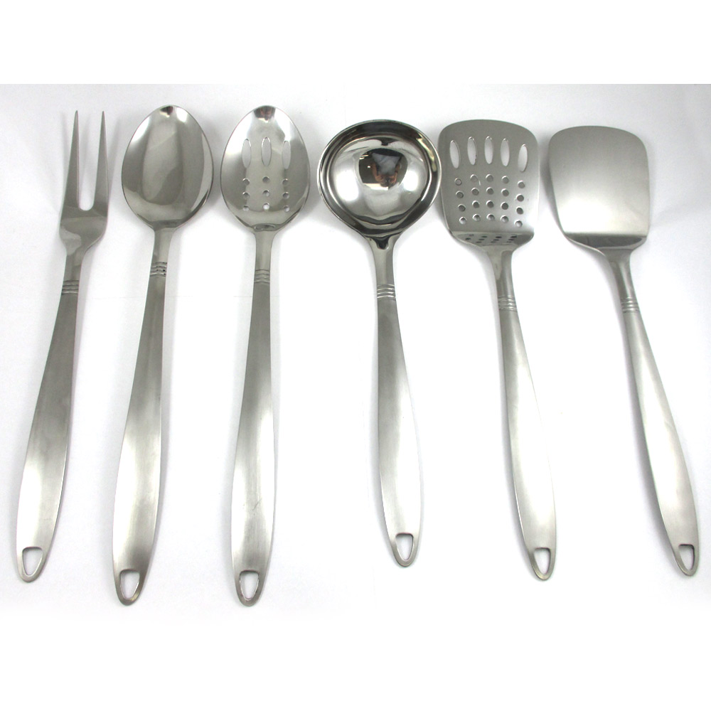 6 stainless steel kitchen cooking utensil set serving for Kitchen kitchen set