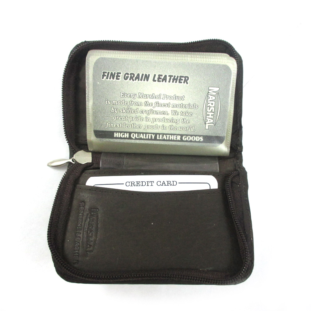 Mens genuine leather zippered credit card wallet holder for Mens business card case