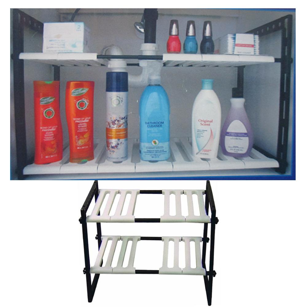 2 Tier Expandable Adjustable Under Sink Shelf Organizer
