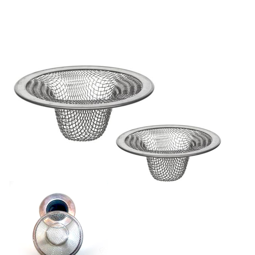 Kitchen Sink Plunger: 2 Pc Stainless Steel Mesh Sink Strainer Drain Stopper Trap