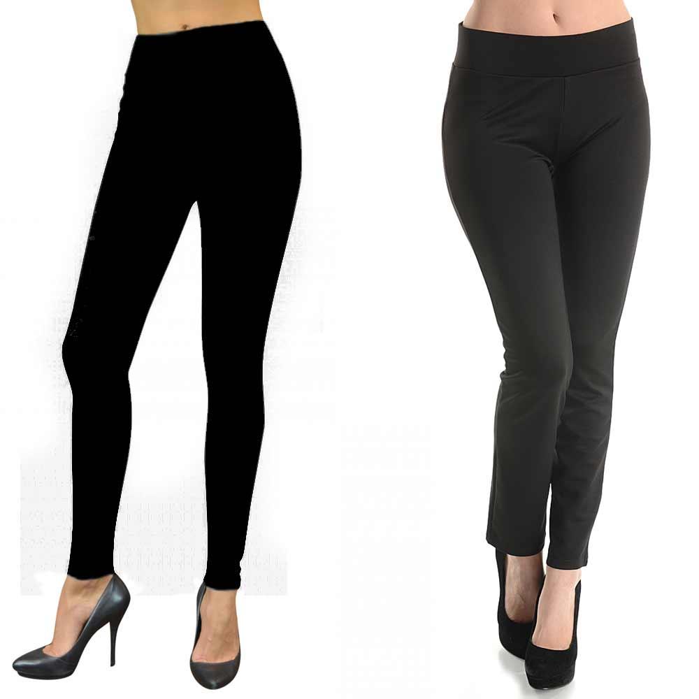 Womens Basic Cotton Full Length Leggings Spandex Pants