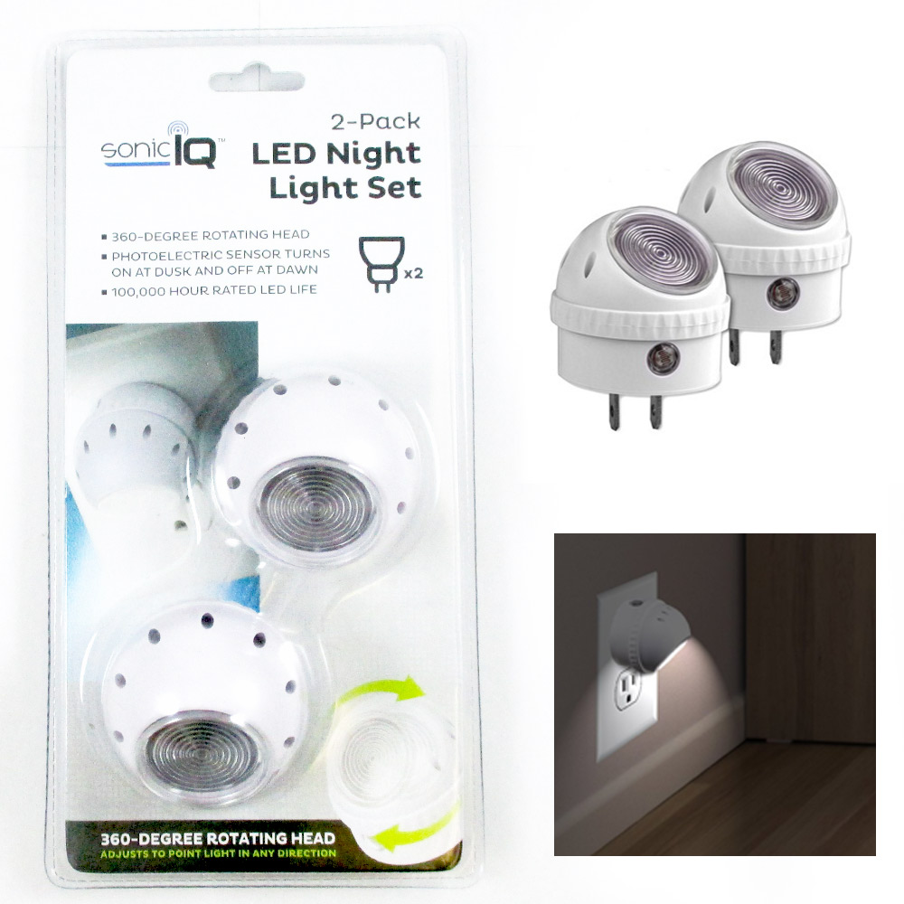 2 Pack Led Night Light Set Plug In Wall Lamp Automatic