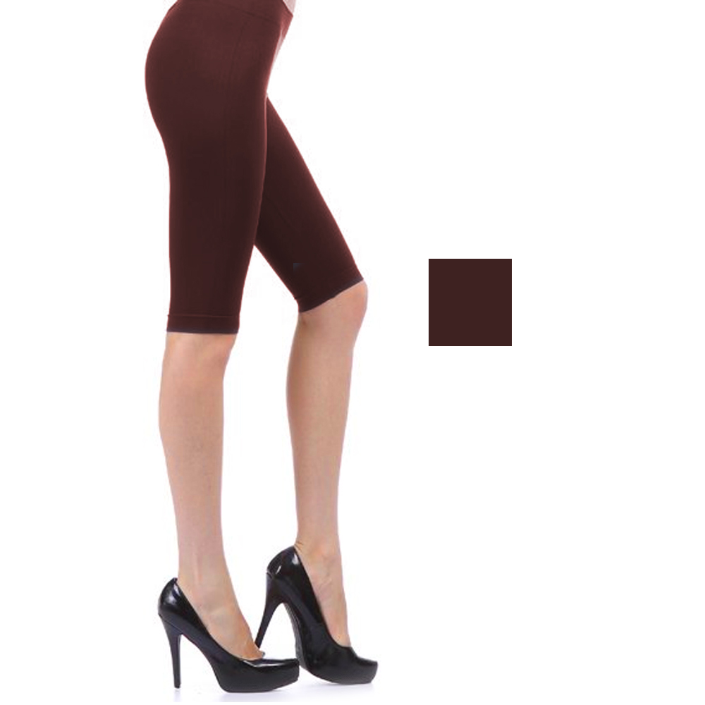 Seamless Basic Solid Shorts Tight Knee Length Spandex