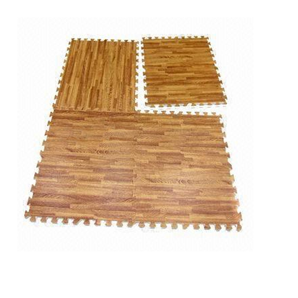 Interlocking wood effect mats eva soft foam exercise floor for Foam flooring