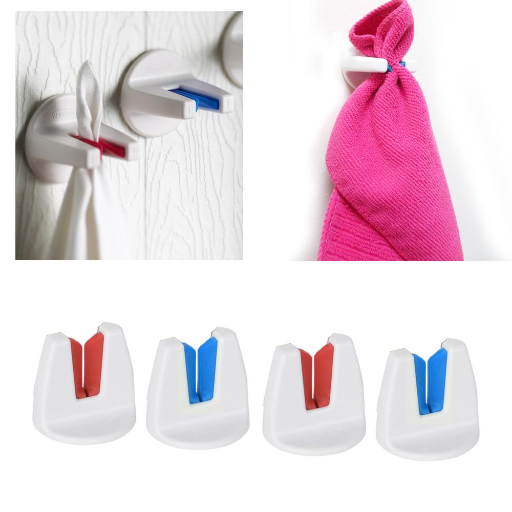 Dishcloth Hanger: 4 X Towel Holder Self Adhesive Bathroom Kitchen Dishcloth