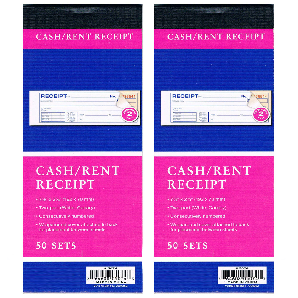 2 Cash Rent CARBONLESS Receipt Book 2 Part 50 Set Money Record – Payment Receipt Book