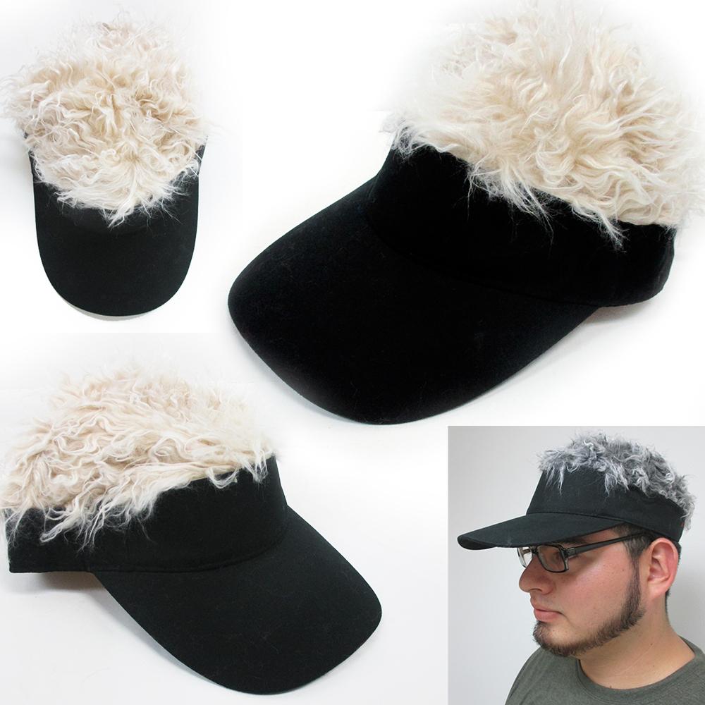 Flair Hair Visor Hat Golf Wig Cap Fake Adjustable Gift