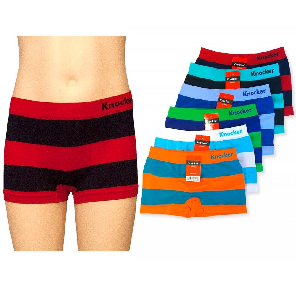 3 Knocker Boys Boxer Seamless Short Kids Spandex Underwear Stripe Briefs Size XL