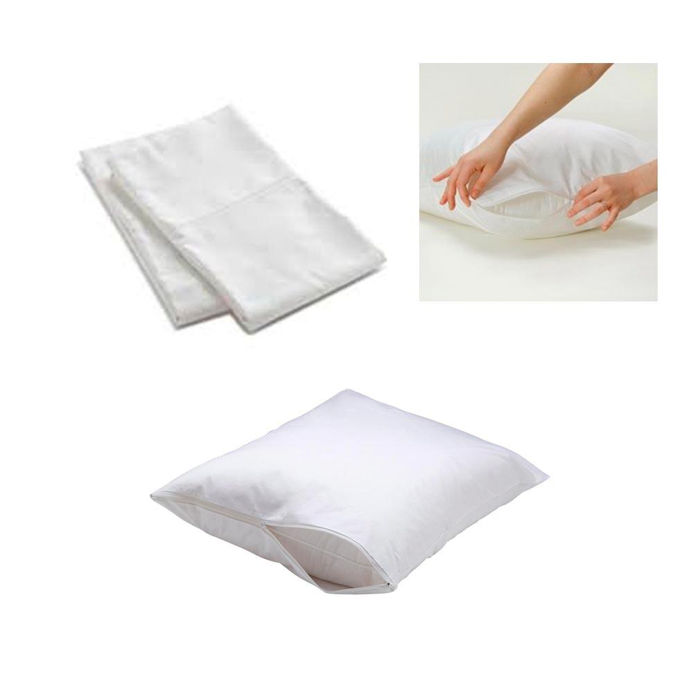 2 white hotel pillow plastic cover case waterproof zipper
