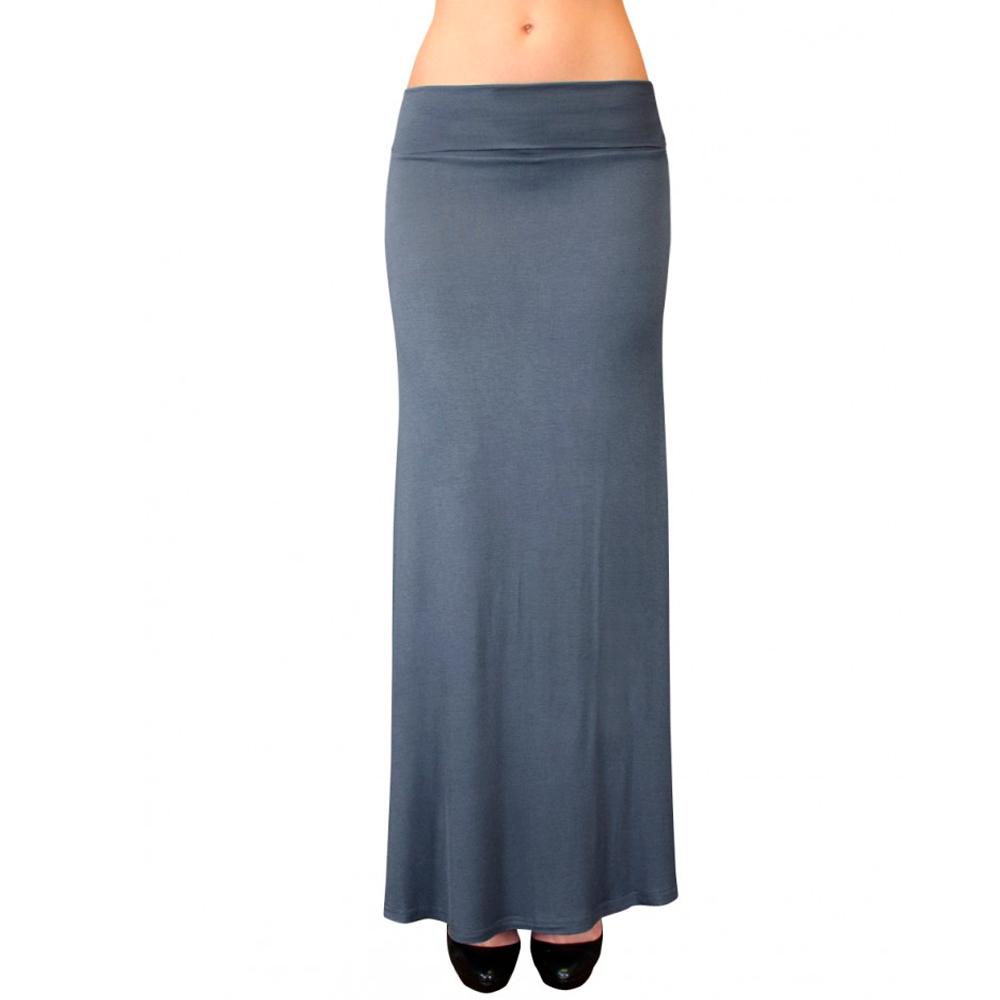 solid maxi skirt waist foldover length light