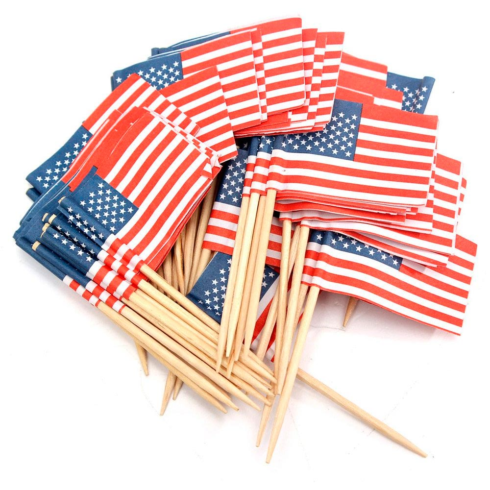 100 american flag toothpicks party cupcake decoration for Decoration sticks
