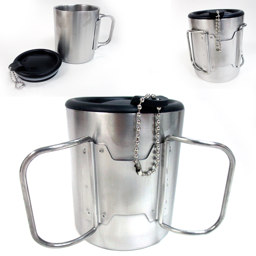 travel coffee mug stainless steel lid tea drink tea cup handle double wall 10 oz ebay. Black Bedroom Furniture Sets. Home Design Ideas