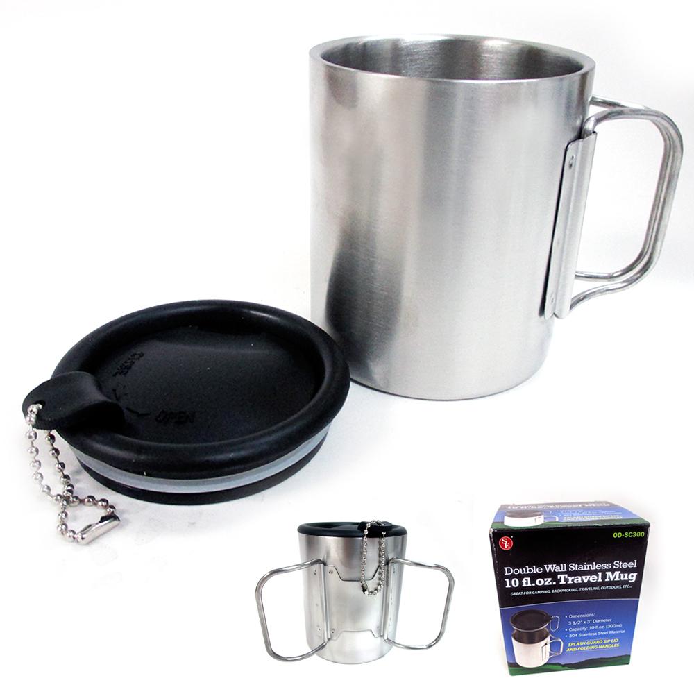 d2631f3ee28 Travel Coffee Mug Stainless Steel Lid Tea Drink Tea Cup Handle ...