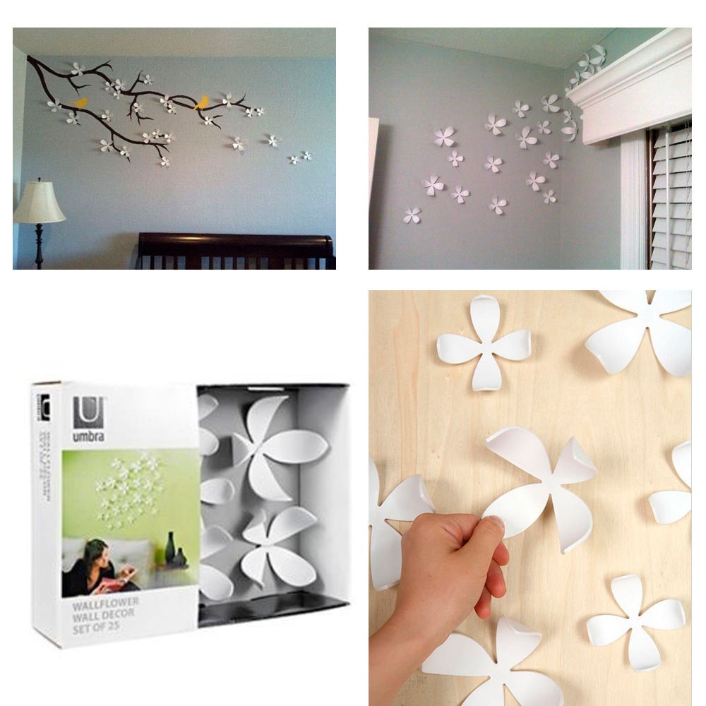 Umbra wallflower wall decor 25 flowers white diy nature for Room decor wall art