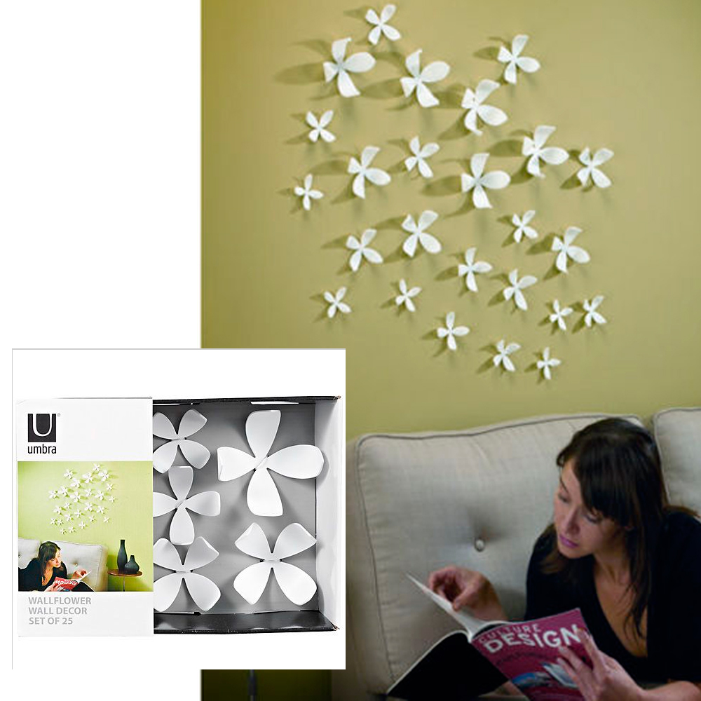 Wall Decor White Flowers : Umbra wallflower wall decor flowers white diy nature