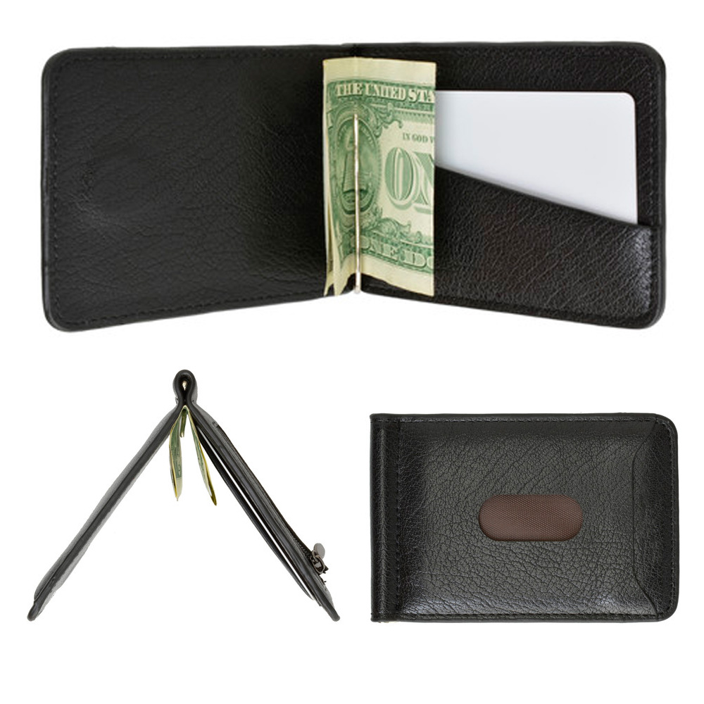 9cae2c30b1f20 Mens Genuine Leather Money Clip Slim Wallet Magnetic Black ID Credit Card  Holder. Click on the below images to view enlarge. AllTopBargain