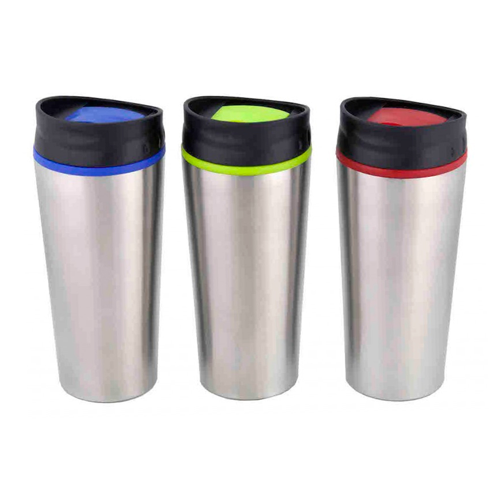 1 stainless steel insulated lock lid travel coffee mug cup 15 oz thermos hot tea ebay. Black Bedroom Furniture Sets. Home Design Ideas
